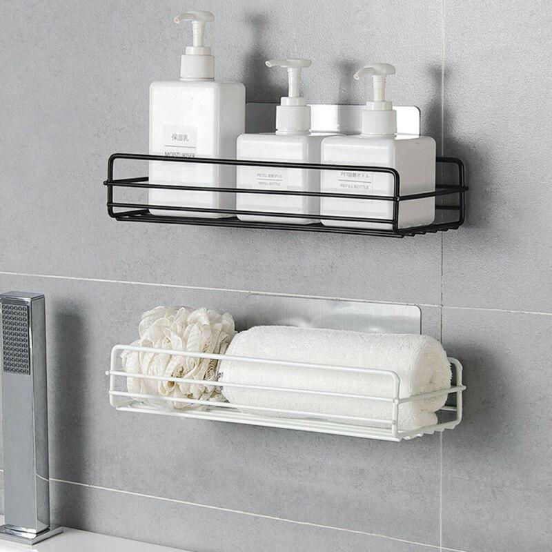 Rust Stainless Steel Shower Gel Adhesive Shampoo Holder Kitchen Bathroom Wall Storage Rack Shelf Org