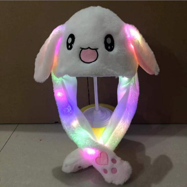 LED Moving Ears Hat Cartoon Plush Flash Student Party Birthday Gift light up Luminous Airbag Hat Blink Jumping up Hat for Adlut