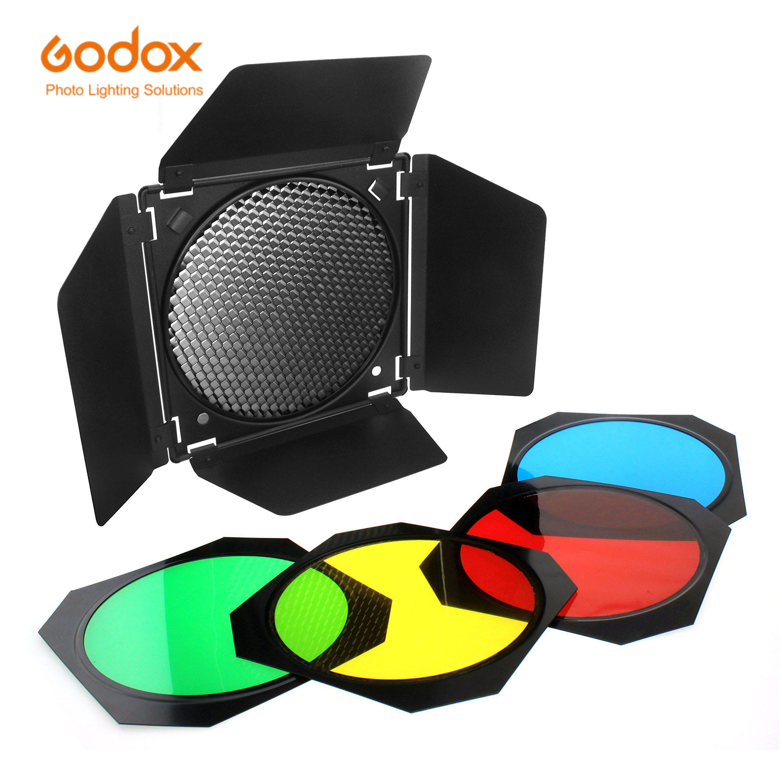 Godox BD-04 باب الحظيرة Barndoor العسل 4 اللون هلام مرشحات ل 7 بوصة معيار عاكس ل GODOX SL60W SL150II SK400II