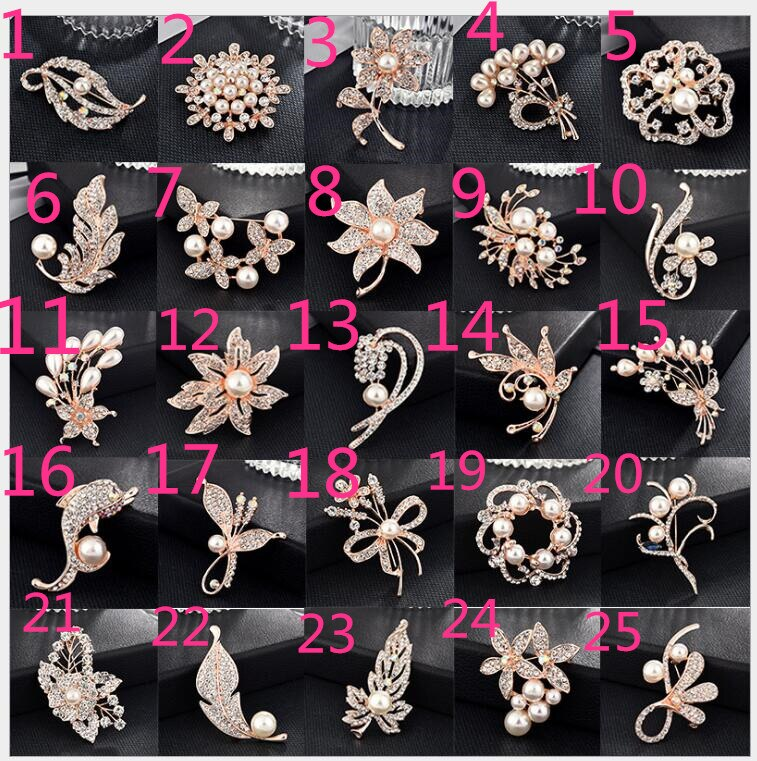 new bwc temperament clothing Korean diamond alloy Pearl brooch female Joker pin brooch