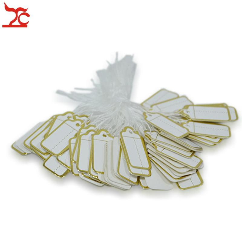 Venta 100 uds/string Tie-en el precio etiquetas con cadenas de joyería de plata con etiqueta de promoción