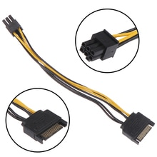 15pin SATA Male to 6pin PCI-E Power Supply Cable 18cm SATA Cable 15-pin to 6 pin cable 18AWG Wire fo