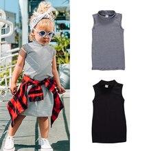 Nouvelle Mini robe dété en coton pour bébés filles, imprimé rayé, col roulé, sans manches, droite
