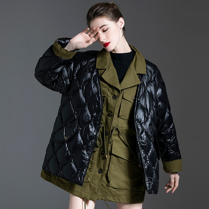 Women down coats luxury autumn winter warm fashion 90% white duck down Jackets Female lady black top puffer hooded casual
