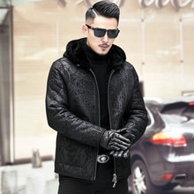 Veste en cuir véritable hommes hiver manteau de fourrure de mouton naturel à capuche veste en peau de mouton porter les deux côtés A19-XX6603-2 KJ3818
