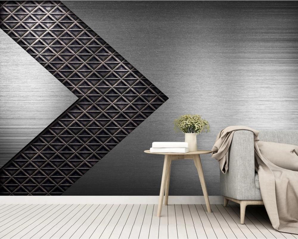Modern minimalist 3D three-dimensional geometric metal texture TV background wall-custom wallpaper wall covering