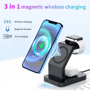 3 in 1 Wireless Charger 15W Mangetic Fast Charging for iPhone 12 pro max 12mini Smasung Wireless Charger for Airpods Apple watch