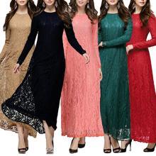 Muslim Abaya Dress Women Long Sleeve Lace Large Hem Loose Maxi Kaftan Jilbab Suitable for church party O Neck dress