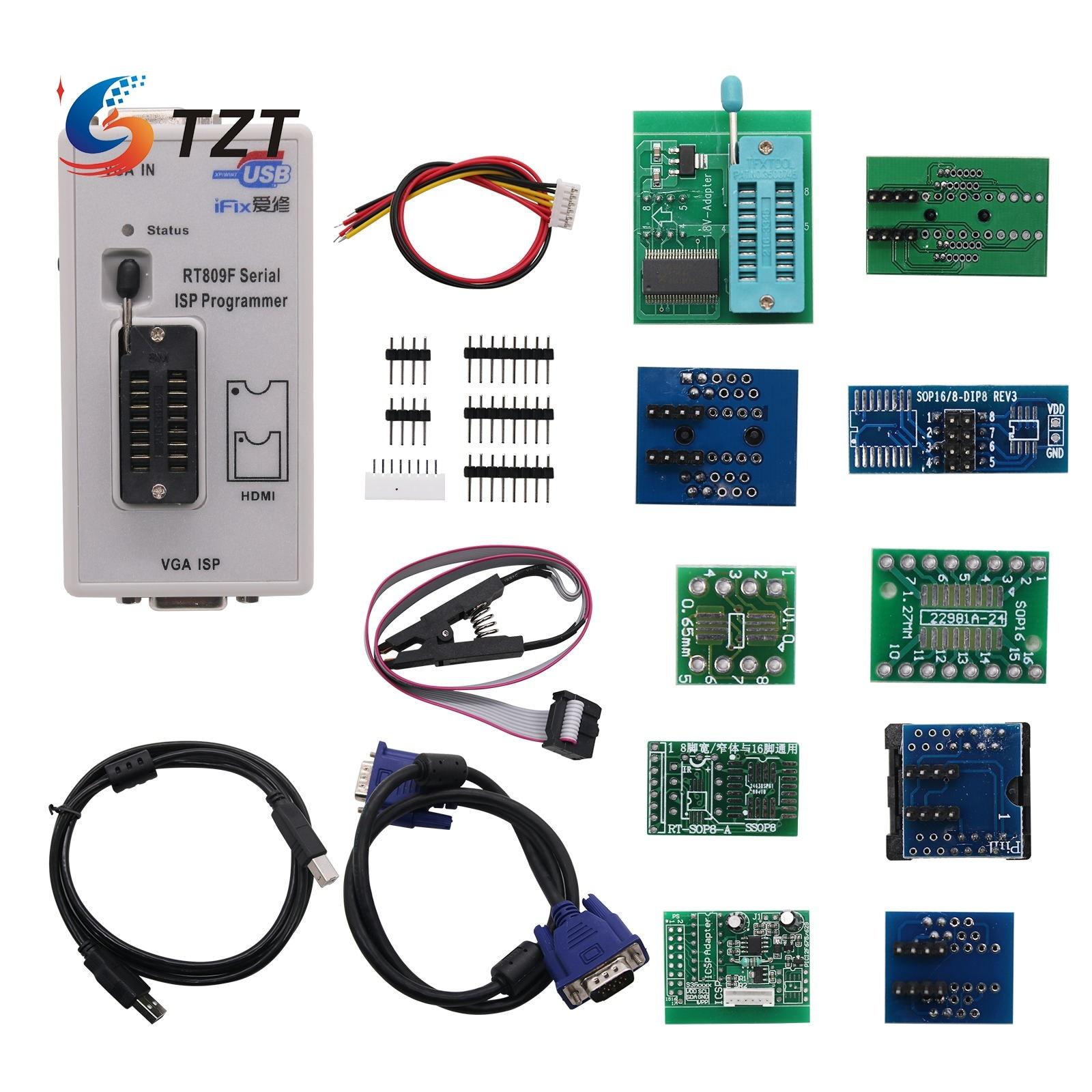 TZT RT809F USB BIOS مبرمج و 11 محولات و SOP8 كليب و 1.8 فولت/TSSOP8 المقبس ICSP 24 25 93