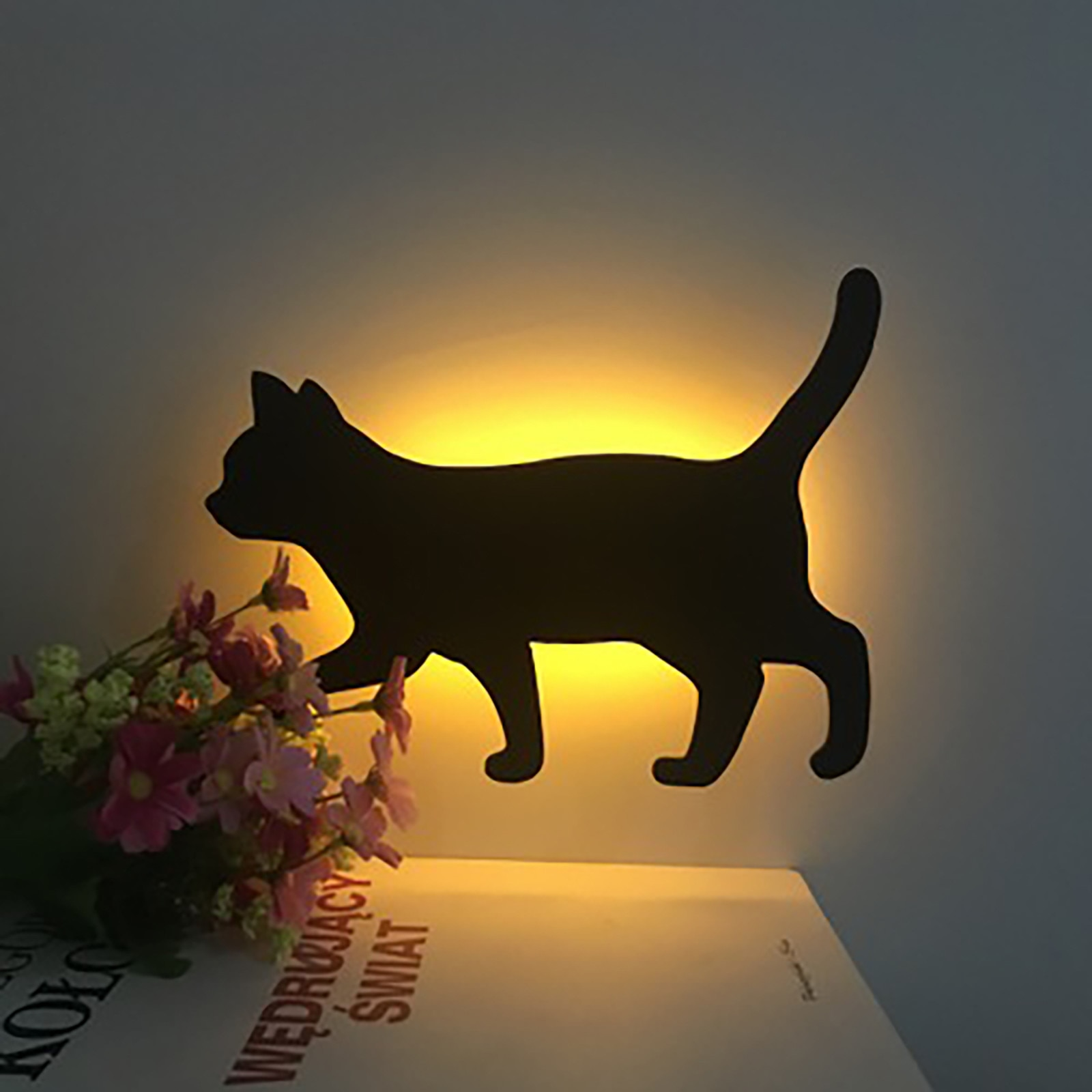 Led Projection Lamp Cat Wall Lamp 3d Sound Control Cat Lamp Decoration Led Projection Lamp Cat Wall Lamp Home Decor Lamps