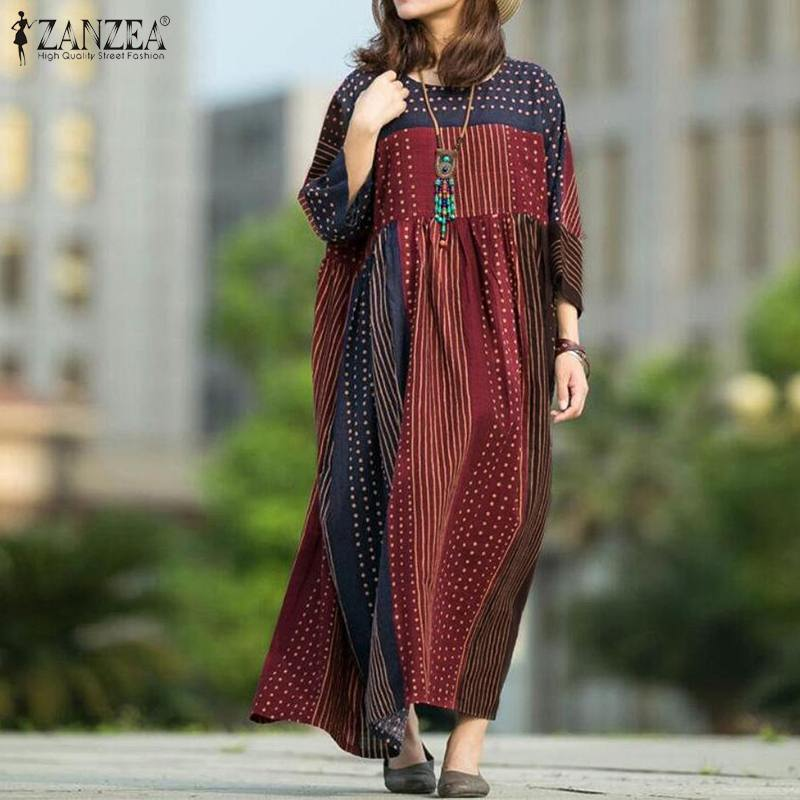 Vestido Bohemain de lunares para mujer, vestido veraniego de primavera ZANZEA 2020, vestido túnica informal de manga larga para mujer estampado, Túnica de talla grande 5XL