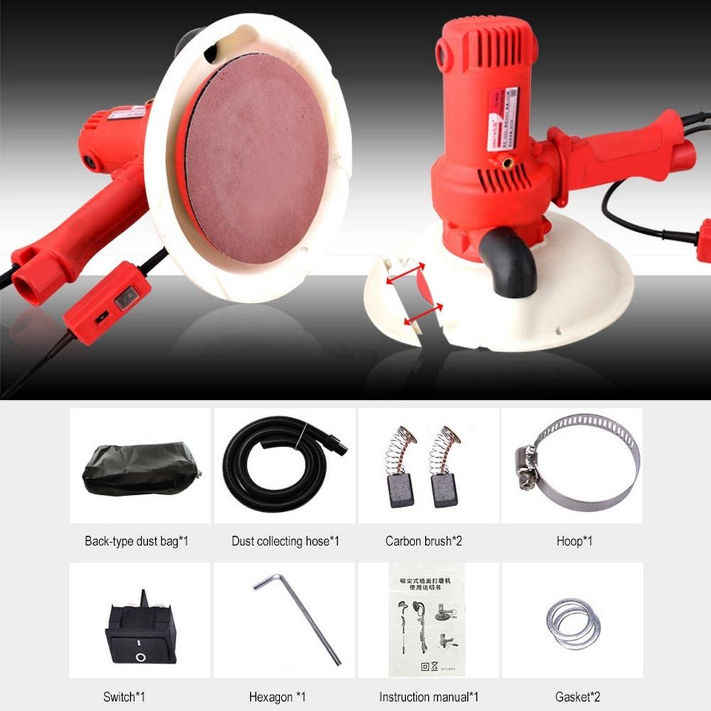 220V 800W Electric Led Light Wall Putty Polishing Machine Sanding Grinding Machine  Self-priming Dust-free Sander Power Tools