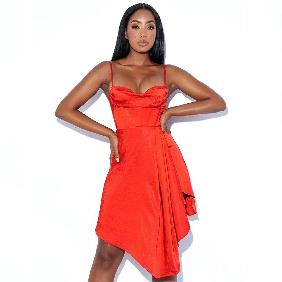 مثير السباغيتي الأشرطة الأحمر 2021 جديد الصيف المرأة ضئيلة و الركبة فستان أنيق المشاهير المدرج فستان الحفلات Vestidos