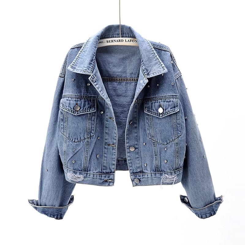 Perle Perlen Kurze Denim Jacken Frauen Blau Gewaschen Langarm Vintage Casual Jean Jacke Bomber Denim Mantel Weibliche Top Outwear