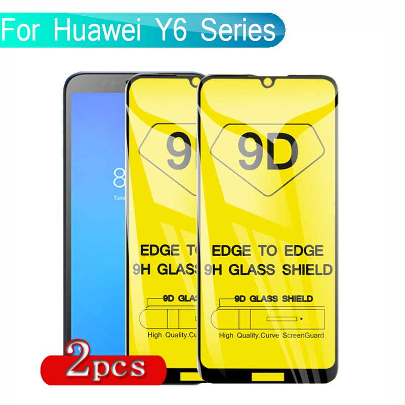 2PCS 9D Tempered Glass For Huawei Y6 Prime 2018 Screen Protector Full Glue Protective Glass For Huaw
