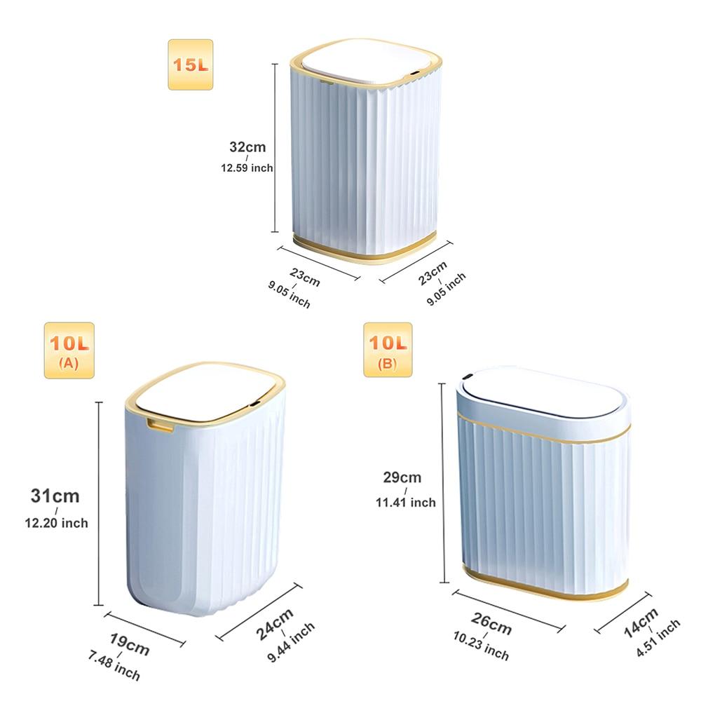 Smart Sensor Garbage Bin Kitchen Bathroom Toilet Trash Can Best Automatic Induction Waterproof Bin with Lid 10/15L enlarge