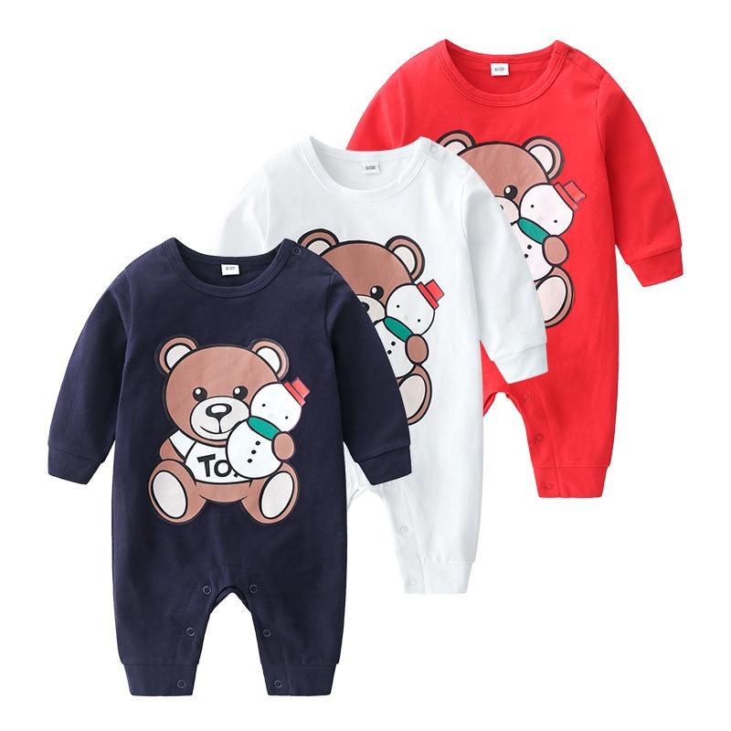 Весеннее боди с принтом маленького медведя для новорожденных, комплекты для малышей, комбинезон для детей, хлопковые боди с длинным рукавом...