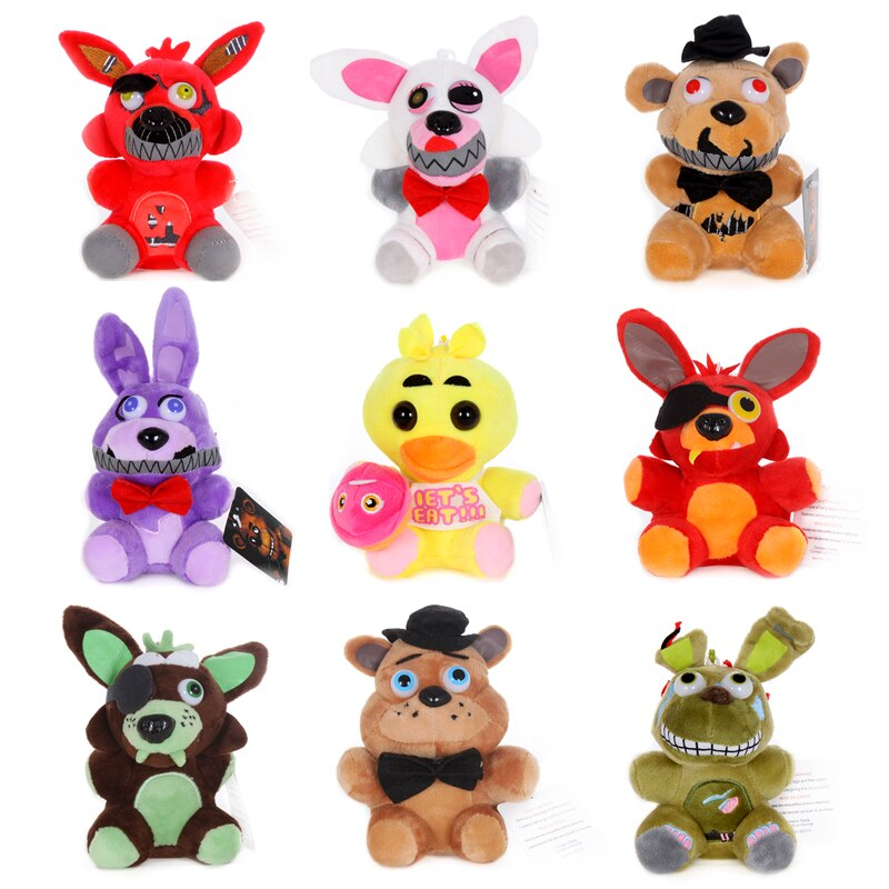 15-25cm Five Night At Freddy Plush Toys FNAF Golden Bonnie Foxy Chica Stuffed Keychain Pendant Dolls Kids Christmas Gifts
