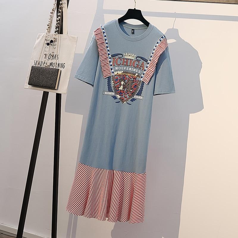 plus size women Summer dresses korean casual striped patchwork vintage long dress for women print cotton loose big girl dresses