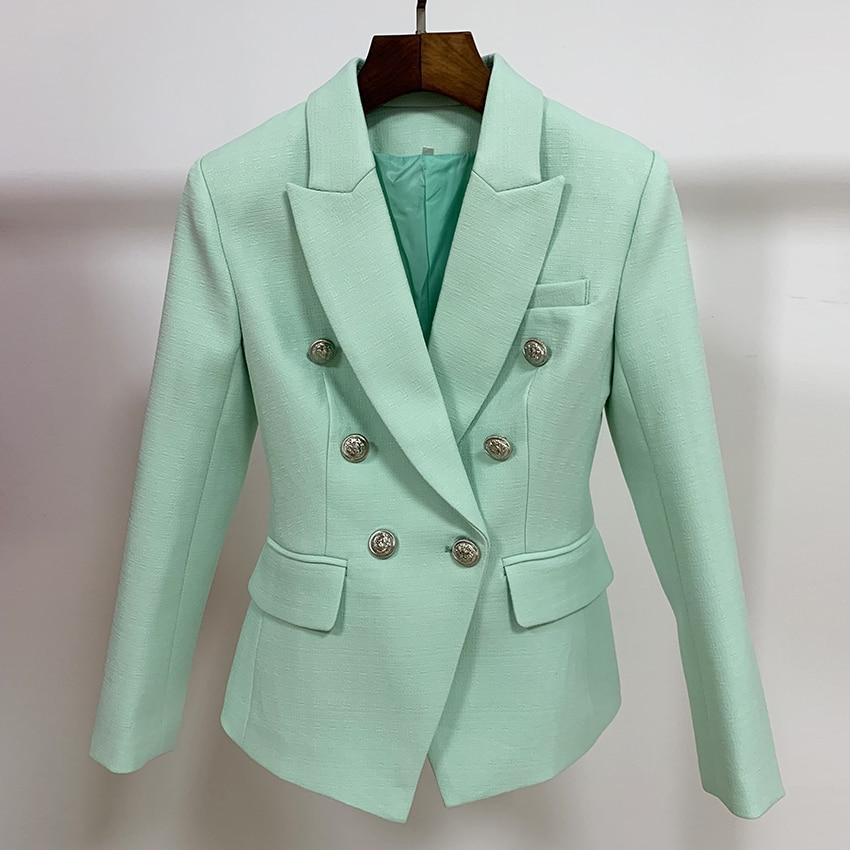 HIGH STREET Classic Baroque Designer Blazer Jacket Women's Metal Lion Buttons Double Breasted Textured Blazer Mint Green