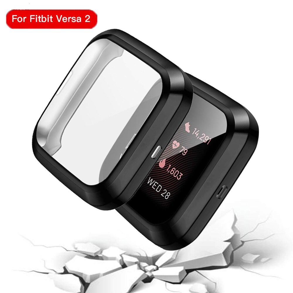 Caso de silicone macio para fitbit versa 2 assista escudo capa chapeamento protetor de tela à prova dwaterproof água caso para fitbit versa 2 relógio inteligente