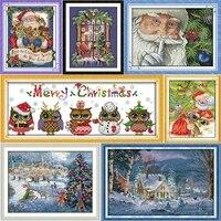joy sunday christmas series canvas dmc counted chinese cross stitch kits printed cross stitch set embroidery needlework