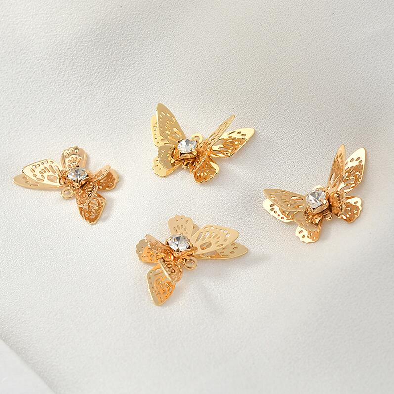 4PCS 13x20MM 14K Gold Color Plated and Zircon Butterfly Shape Connect Charms Pendants Jewelry Making