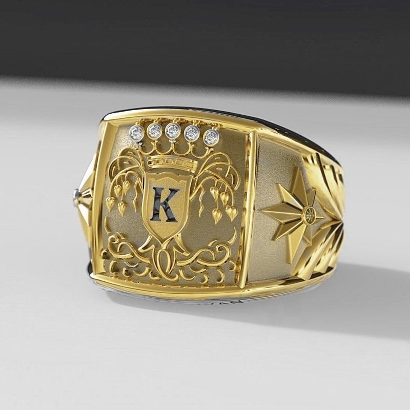 Europese Mode Heren Gouden Ringen Warrior Symbool Van Moed Voor Mannen Koning Medaille Ringen Rvs Fashion Accessoires Sieraden