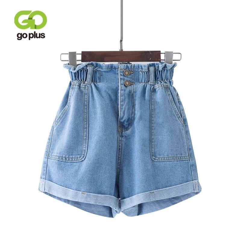 GOPLUS 2020 Summer Casual Women Jeans Shorts Preppy Retro Elastic High Waist Plus Size Blue Denim Shorts Pockets Female Shorts