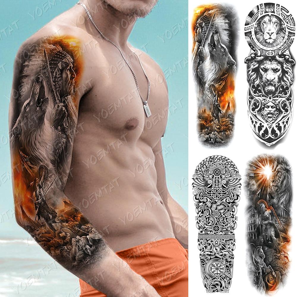 Большой рукав татуировки индийский волк воин водонепроницаемый временная татуировка стикер Лев маори Тотем боди-арт Полный Поддельные татуировки для мужчин