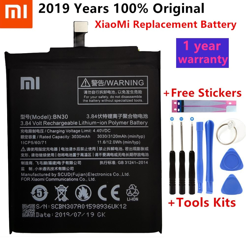 100% Original Xiao Mi Phone Battery For Redmi 4A Hongmi 4A 3120mAh BN30 High Quality With Free Tools