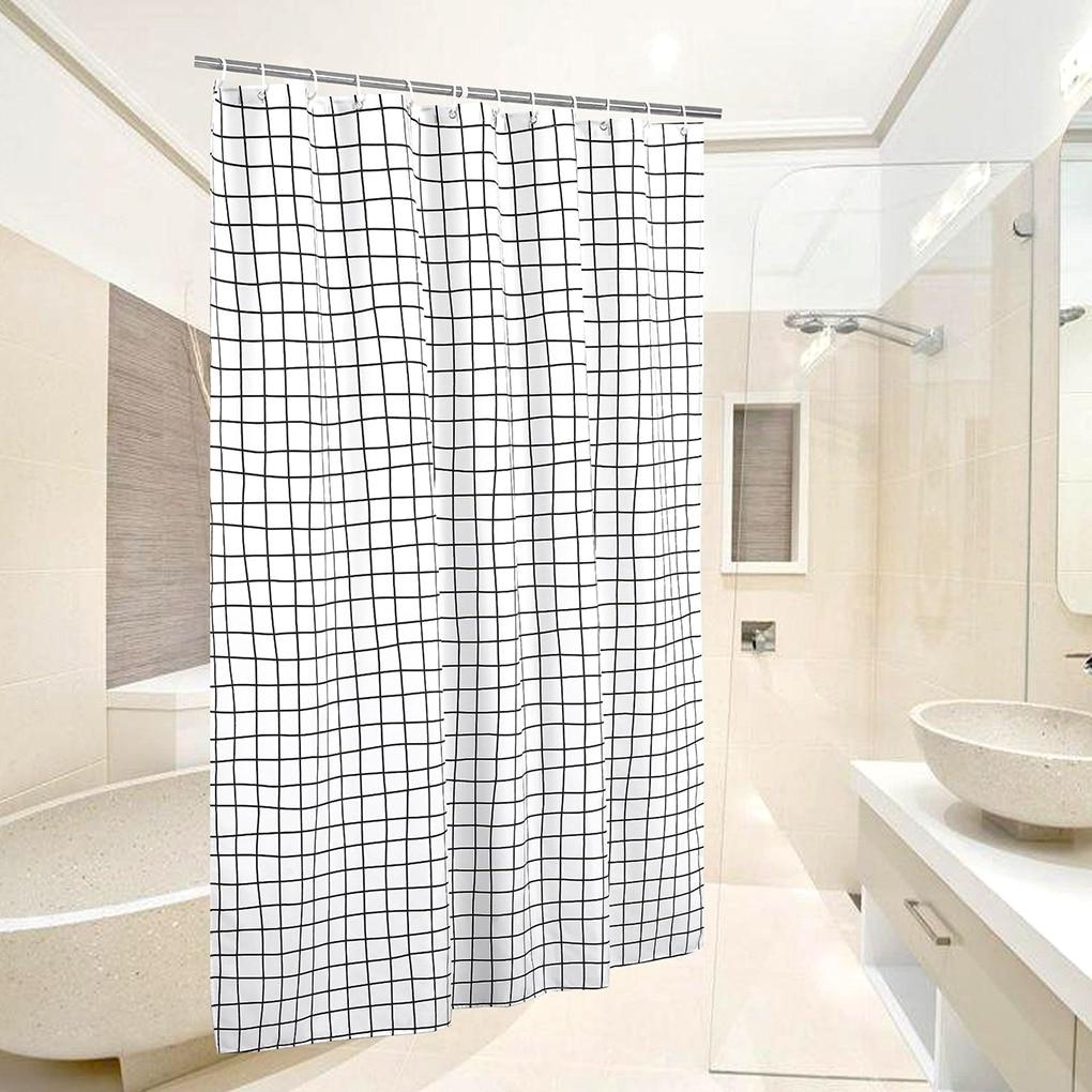 Cortina de baño de rejilla negra blanca, Panel divisor de ducha a prueba de moho de poliéster geométrico