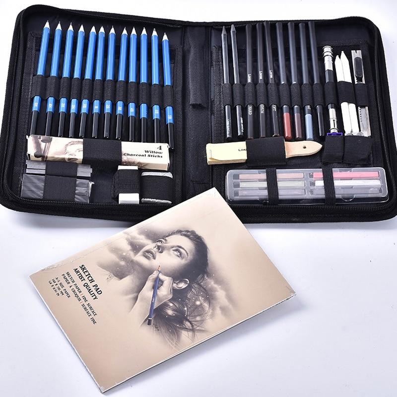 48 unids/set profesional lápices para bocetos de dibujos Kit con grafito gris pluma VDX99