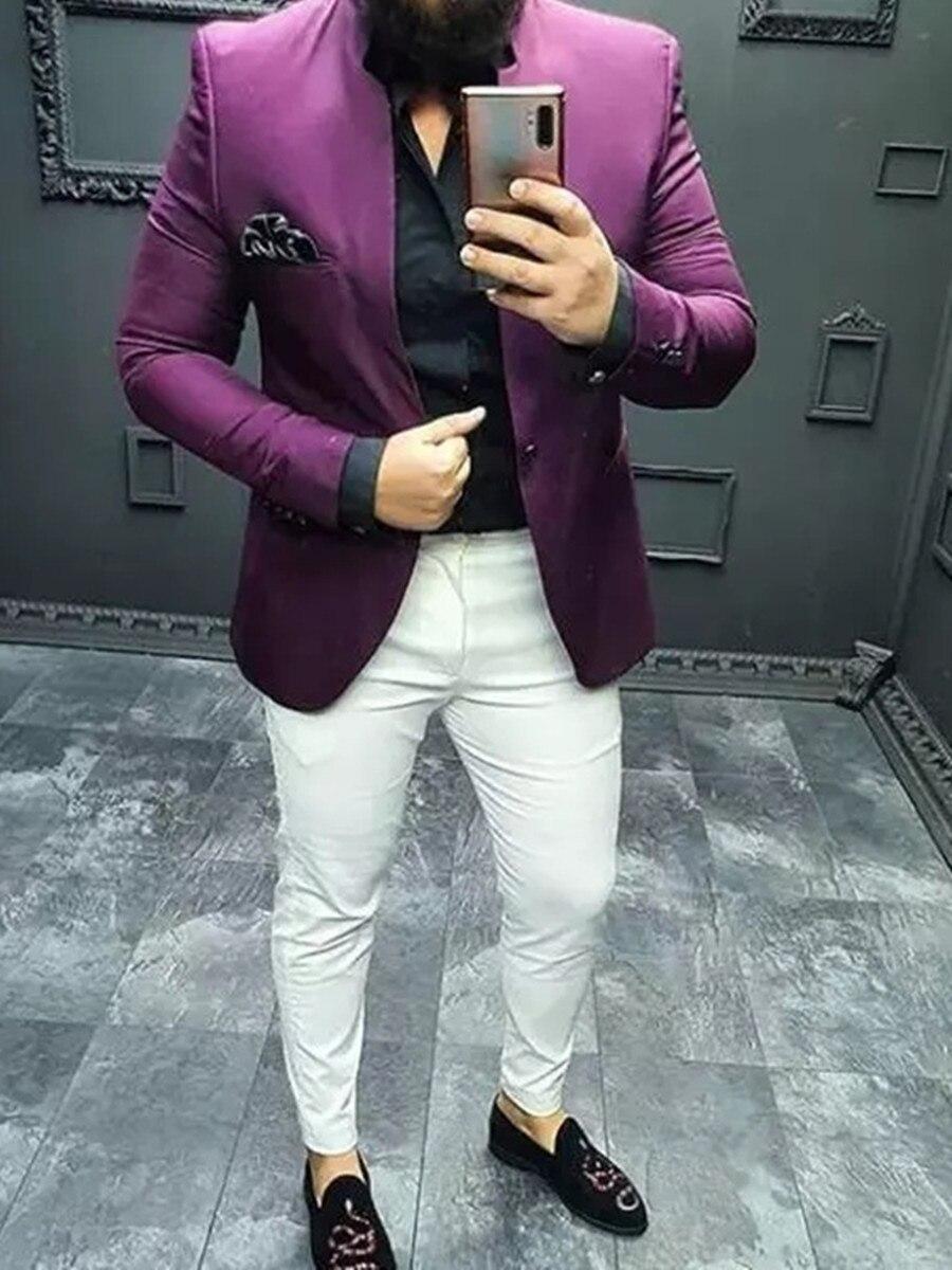 New Arrival One Button Groomsmen Mandarin Lapel Groom Tuxedos Men Suits Wedding/Prom Best Blazer ( Jacket+Pants+Tie) D02