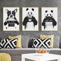 Toile de peinture nordique  decor mural  affiche dart  dessin anime  Animal  Panda  chien  image  noir et blanc  peinture pour salon