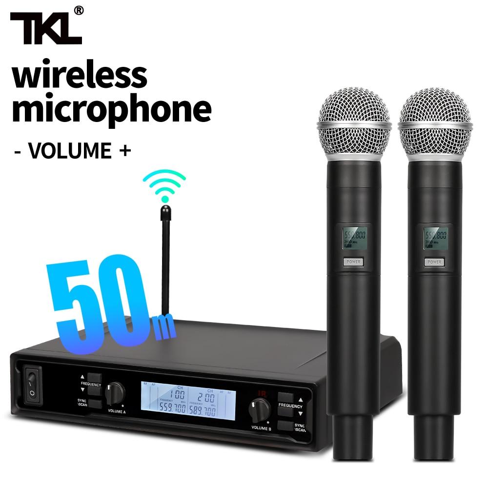 TKL ميكروفون لاسلكي نظام 2 قناة مكبر صوت لا سلكي ذو تردد فوق العالي مسح تلقائي مع نطاق ميكروفون مزدوج محمول 164ft لكاريوكي الكنيسة