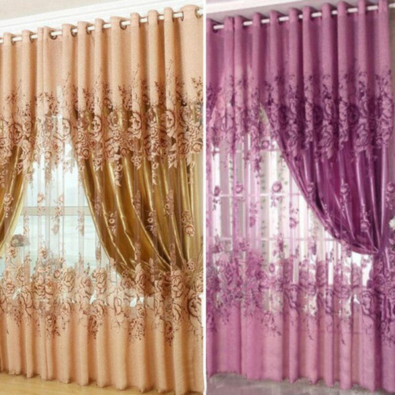 Curtains White/Navy Blue Curtain String Door Curtain Line Flash Shiny Viole Sheer Window Tassel Scre