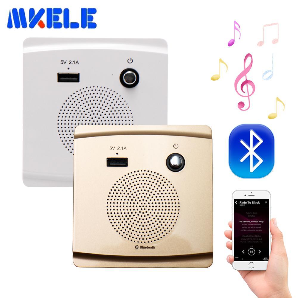 Smart Socket Bluetooth Speaker 5V 2.1A USB Charging Port Mount Speaker HiFi Music Player