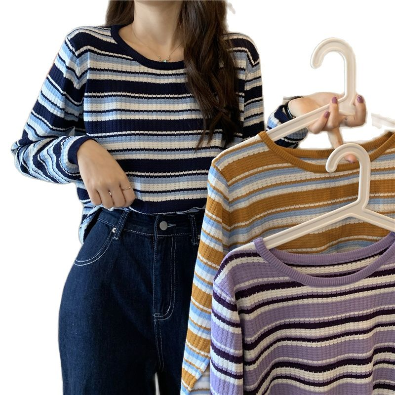 Long Sleeve Striped Knitted Sweater 2021 Autumn Winter Pullover Women Sweater Loose Sweaters O-Neck Tops Korean Jumper Female недорого