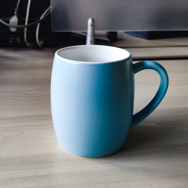 Tazas de café tipo barril de 500ml, tazas de cerámica para el desayuno, tazas para amantes del capuchino, leche, leche, té, tazas de cuatro colores