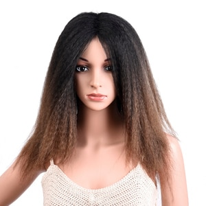 Silike Yaki Hair Wigs 18 inch Synthetic Wigs With Neat Bangs Kinky Curly African American Style Wigs Black Purple Color