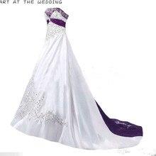 Imagen REAL vestidos de novia elegantes 2019 una línea sin tirantes bordado con cuentas blanco púrpura Vintage vestido de novia hecho A medida alta calidad