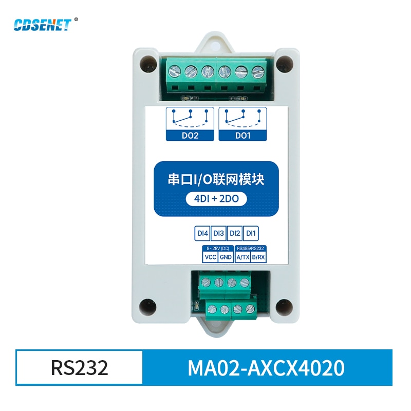 CDSENET Modbus RTU Industrial Grade Serial Port I/O Networking Module RS232 Data Acquisition and Monitoring MA02-AXCX4020(RS232) 8 way analog data acquisition input 6 relay output 220vac modbus rtu module serial port 485