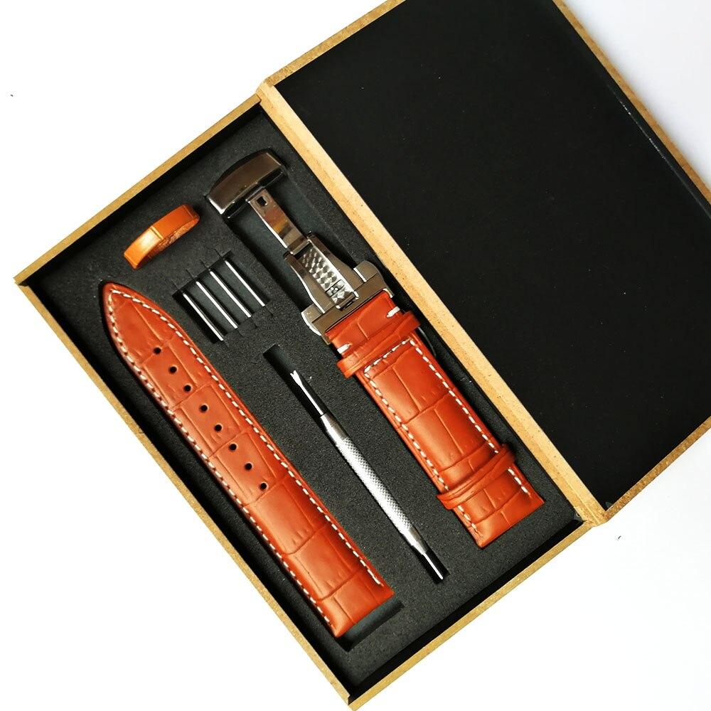18mm 19mm 20mm 21mm 22mm 23mm 24mm pulseira de relógio couro genuíno bezerro pulseira universal para tissot seiko borboleta