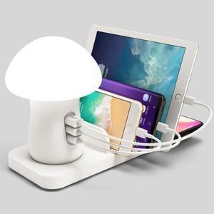 Wireless charging USB Changing Phone Holder Mini Mushroom LED desk light for Xiaomi iPhone Samsung ipad Socket Support