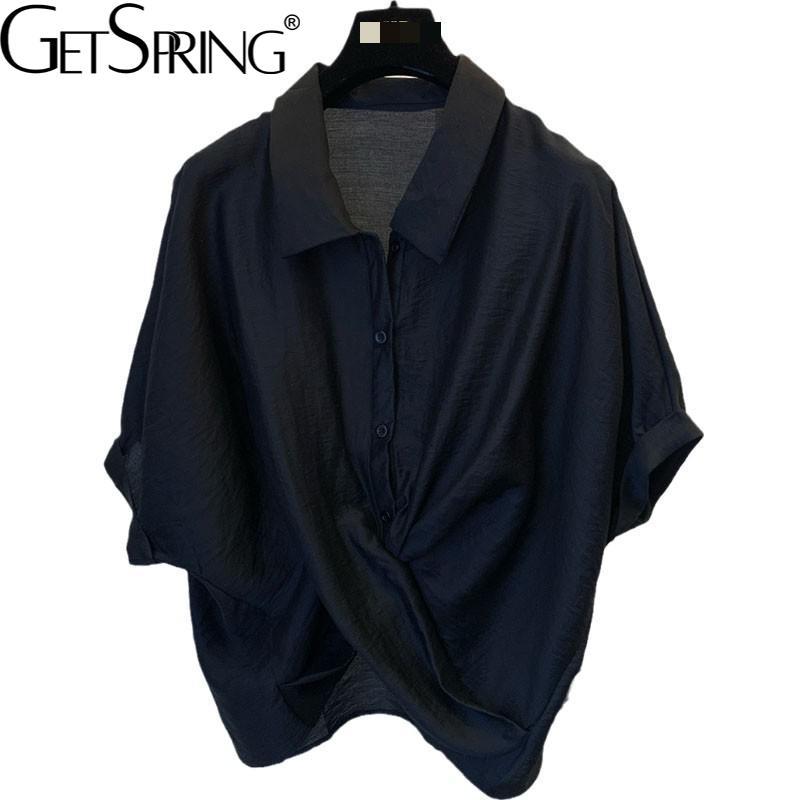 Getspring المرأة بلوزة قميص غير النظامية أسود أبيض المرأة الصيف قميص عدم التماثل بلوزة فضفاضة غير رسمية بلايز 2021 موضة جديدة