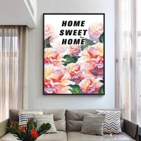 YI LUMINEUX BRICOLAGE Carre Rond Diamant Peinture Bricolage Diamant Peinture-Famille-Sweet Home-Mosaique De Fleurs-Fleur-Broderie-Sticker Mural
