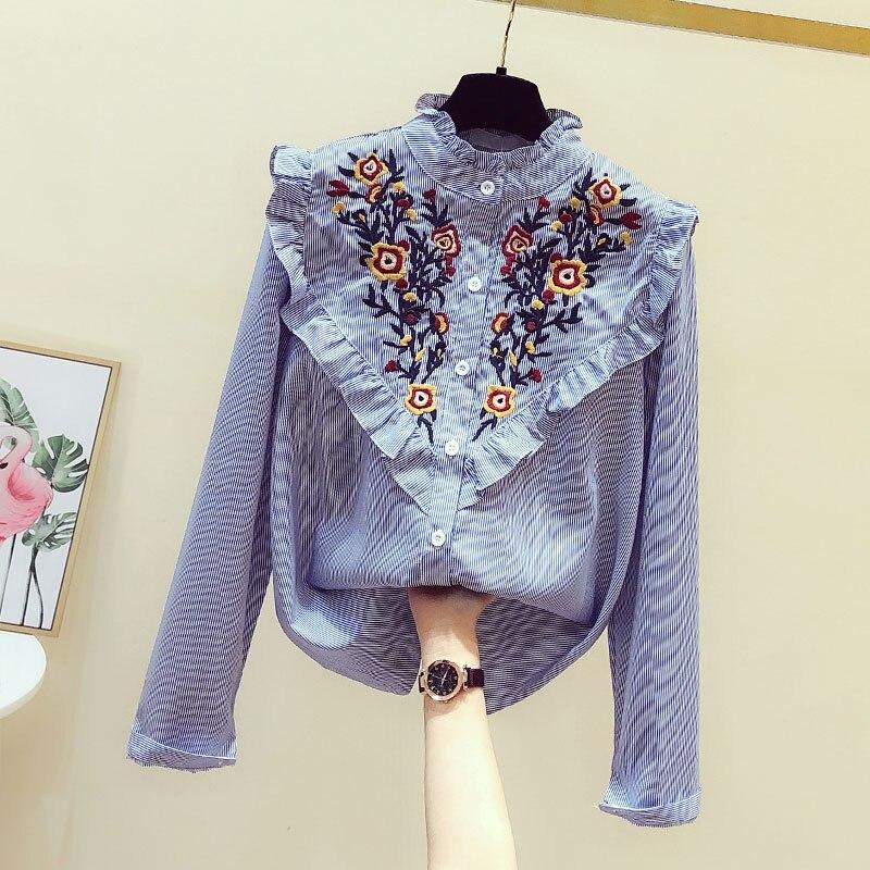 Camisa listrada feminina manga longa 2020 primavera novo estilo coreano topo babados flor bordado blusas femininas e topos blusa