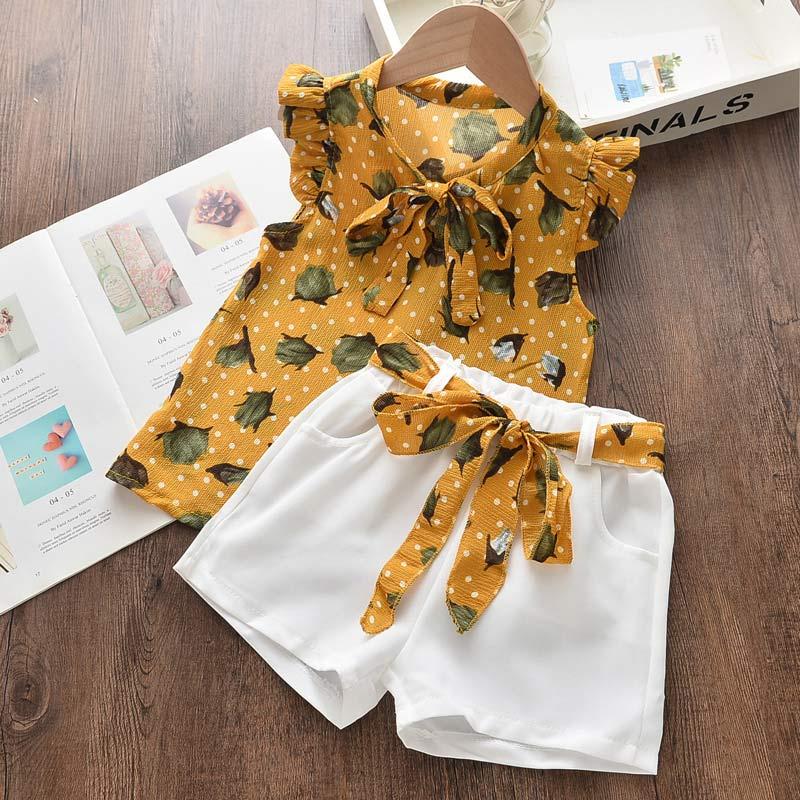 Mädchen Kleidung Gesetzt Kleines Mädchen Casual Wear Chiffon Floral T-shirt Bogen Shorts 2-Teilig Sommer Kleidung für 3-7 jahre Alte Kinder