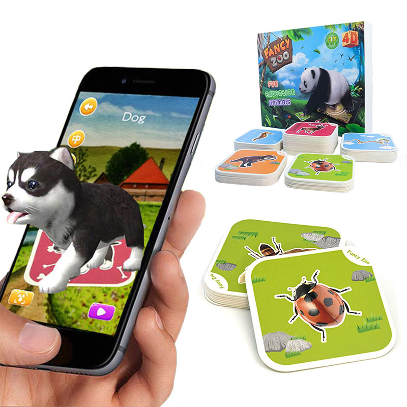 4D Animal Card Cartoon Card Toys Sensory Education Fun 68 PCS Learning Word VR Card Early Education Montessori Toys 6Y Christmas